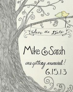 Zentangled tree on our save the dates