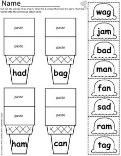 CVC Scoops!  Color, cut and paste with simple CVC word families!