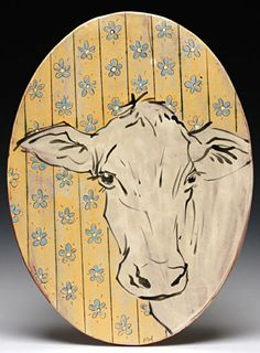 """Oval Tile - Cow Portrait"" - Mel Griffin (earthenware with slip and glaze decoration)"