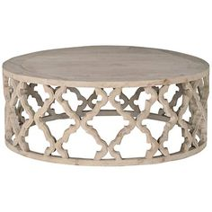 Bella Antique Clover Large Smoke Gray Wood Coffee Table - #1P686   Lamps Plus