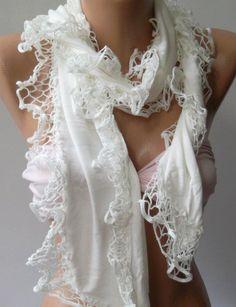 White - Elegance Shawl / Scarf with Lace Edge. $19.90, via Etsy.
