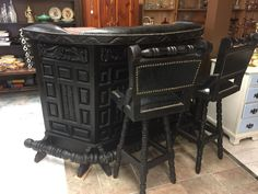 Vintage 1960s Spanish Gothic Revival Carved Wood Home Rec Room Bar w/ Two Stools #Spanish
