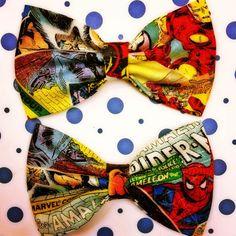 Marvel Comics Retro print handmade fabric bow tie or hair bow on Etsy, $5.50