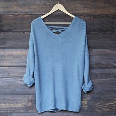 oversize pullover laced back sweater - sky blue - shophearts - 1