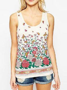 Sleeveless Flower Pattern Form-Fitting Plus Size T Shirt on buytrends.com