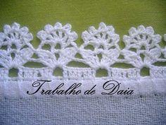 """Foto: Trabalho nº 60 - Bico de crochê em pano de prato. """"Резултат с изображение за bicos e barrados de croche para pano de prato com grafico"""" Crochet Boarders, Crochet Edging Patterns, Crochet Lace Edging, Crochet Motifs, Crochet Trim, Love Crochet, Crochet Designs, Crochet Flowers, Crochet Stitches"""