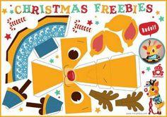 Santa Claus and Reindeer Free Printable DIY Christmas Paper Crafts