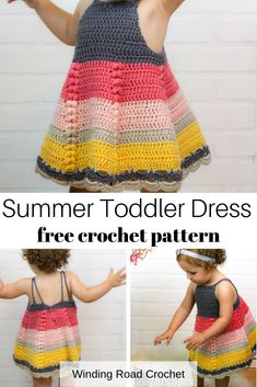 Crochet this beautiful baby toddler dress. Available in 3 sizes. Free crochet pattern by Winding Road Crochet. Crochet Toddler Dress, Girls Knitted Dress, Baby Girl Dress Patterns, Baby Clothes Patterns, Crochet Baby Clothes, Clothing Patterns, Knit Dress, Sewing Patterns, Crochet Patterns