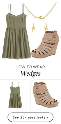 """""""Lightning Strikes Khaki"""" by nickollalopez on Polyvore featuring Kitsch, H&M and Madden Girl"""
