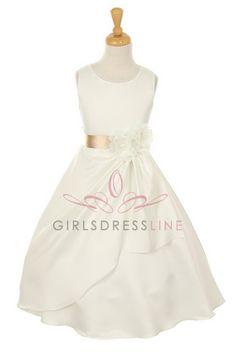 Ivory/Champagne Bridal Dull Satin Flower Girl Dress B1165-IC B1165-IC $48.95 on www.GirlsDressLine.Com