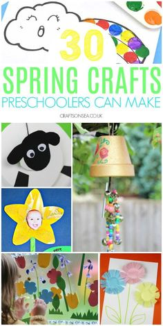 Easy and fun spring crafts for preschoolers with lots of simple ideas for projects they'll love including spring flower crafts, chicks, sheep crafts, windchimes, rainsticks and more. Rabbit Crafts, Pig Crafts, Sheep Crafts, Crafts For Kids To Make, Preschool Crafts, Easy Crafts, Preschool Classroom, Kids Diy, Preschool Ideas