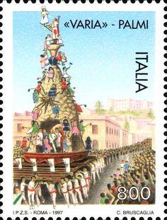 """1997 - """"Folklore italiano"""": Festa della """"Varia"""" di Palmi (Reggio Calabria) - la """"Varia"""", il grande carro che viene trasportato durante la festa religiosa"""