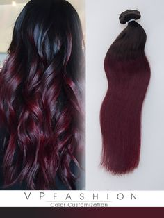 black to dark red clip in human hair extensions blog10