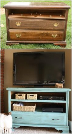 Turn the garage sale dresser into this functional TV stand with shabby chic charm!