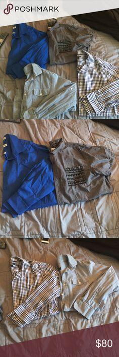 "Men's dress shirt bundle 4 men's dress shirts bundle! All size large! 3 long sleeve shirts! 1 short sleeve! Jeans style long sleeve by the brand 'MW"" . Blue and white Plaid shirt by ""APT"" long sleeve shirt. All blue long sleeve shirt by ""Pierre Cardin. & gray short sleeve shirt by ""ON THE BYAS""!!!! All in good conditions! Worn a few times each! Amazing quality shirts! Pierre Cardin Shirts Dress Shirts"