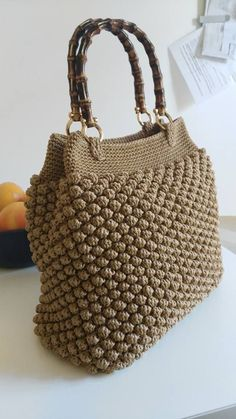 Shoulder Bags – Crochet bag, popcorn stitch – a unique product by Crafmania on DaWanda Crochet Tote, Crochet Handbags, Crochet Purses, Knit Crochet, Pinterest Crochet, Crochet Bag Tutorials, Popcorn Stitch, Bobble Stitch, Handbag Patterns