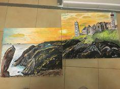 Peinture acrylique de la pointe saint Mathieu en Bretagne par Brunella