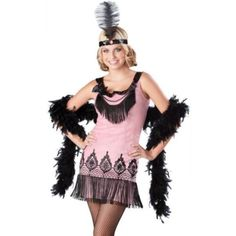 "FINAL❗️Pink & Black ""Flirty Flapper"" Costume WILL SHIP SAME OR NEXT DAY! New never worn. Size is a junior large. Includes headpiece with feather (unopened) and dress with attached fringe. Also includes separate long feather bow that was purchased additionally. ❌NO TRADES OR PAYPAL❌ Dresses Mini"