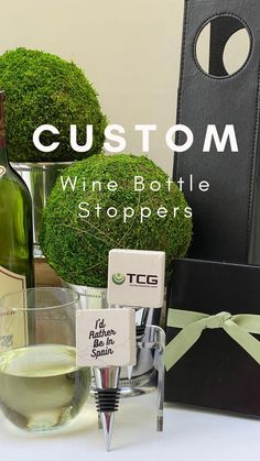 "The Classic Legacy custom personalized marble wine bottle stopper features YOUR logo, art, or photo. This company chose their logo on one side and the words, ""I'd Rather be in Spain"" on the back. This was created during Covid 19 when travel was not possible.....but fun gifts and humor is allowed :)."