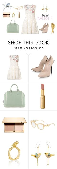 Belle naturelle by charlottes-styles on Polyvore featuring mode, RED Valentino, Casadei, Louis Vuitton, Mimi So, Dolce&Gabbana, Clarins, Too Faced Cosmetics, birds and charlottesstyles