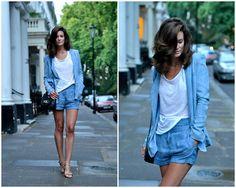 Acne Shorts, Acne Blazer, Acne T Shirt, Acne Bag, Celine Sandals, H&M Necklace