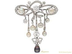 Belle Époque natural pearl diamond pendant brooch 1909