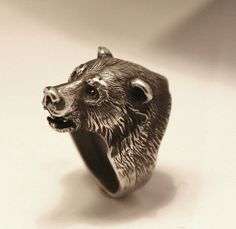 Bear head sterling silver 925 ring from YK by yurikhromchenko