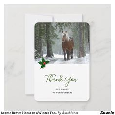 Scenic Brown Horse in a Winter Forest Christmas Thank You Card Photo Thank You Cards, Custom Thank You Cards, Christmas Thank You, Brown Horse, Love Hug, Personal Photo, Smudging, Paper Texture, Holiday Cards