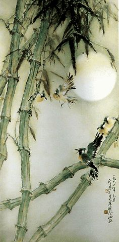 Bamboo, birds - by Henry Wo Yue-Kee (1927 China - ), Alexandria, VA (Torpedo Factory). Lingnan School.
