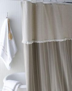 """French Laundry Home """"French Stripe"""" Shower Curtain. Three-part stripe shower curtain combines stripe fabric and a natural color top band with a mini ruffle separating the two sections. Ruffle Shower Curtains, Cute Curtains, Grey Curtains, Bathroom Shower Curtains, Tabletop Accessories, Kitchen Accessories, Small Room Decor, Decoration, French Country"""