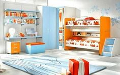 decorating with orange and blue colors