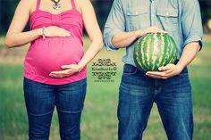 "Have ""Daddy"" hold fruit the same size that the baby is that week."