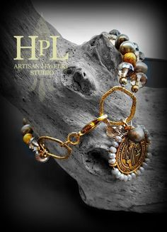 Freshwater Pearl Champagne crystals and gold plated st benedict san benito  handmade bracelet by Hecho Por Liz artisan Jewelry made in texas by HpLJewelry on Etsy
