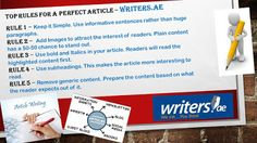 Writers.ae: Top Rules for A Perfect Article follow us at http:...