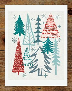 8x10 Christmas Tree Holiday Art Print by groovygravy on Etsy, $20.00
