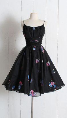 Vintage 1950s Dress vintage 50s hand painted dress black