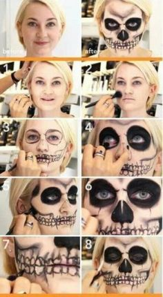 Are you looking for ideas for your Halloween make-up? Browse around this website for creepy Halloween makeup looks. Zombie Makeup Tutorial, Maquillaje Halloween Tutorial, Makeup Tutorials, Makeup Ideas, Skeleton Makeup Tutorial, How To Skeleton Makeup, Skeleton Face Paint, Halloween Zombie Makeup, Halloween Kostüm