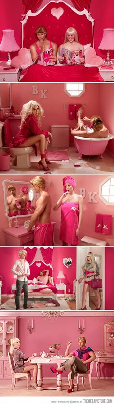 Barbie and Ken in real life... How they make these actors look like the dolls is amazing!