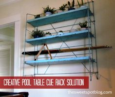 Pool Table Cue Rack Solution by The Sweet Spot Blog #decor #diy #vintage #organization #reuse #pooltable