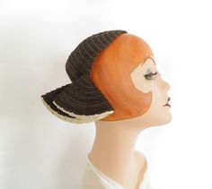 Vintage calotte hat with side flaps, 1930s 1940s NY Creation by…