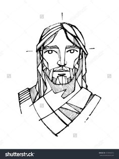 Hand Drawn Vector Illustration Or Drawing Of Jesus Christ Face - 410994472 : Shutterstock