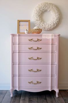 Pink and Gold French Provincial Tall Dresser
