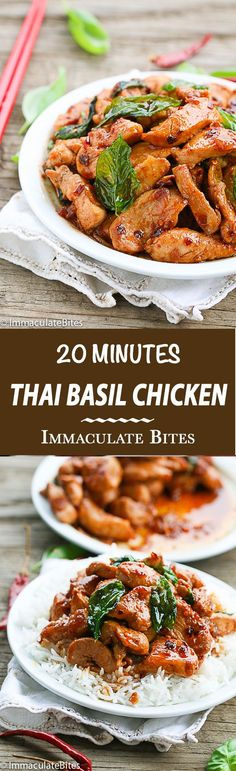 Thai Basil Chicken-Make this takeout at home in less than 20 minutes. It's insanely flavorful healthier, and lighter than the takeout version and guaranteed hit with the family. More soy sauce, fish sauce and brown sugar. Dash of red pepper flakes. Thai Basil Chicken, Chicken Basil Recipes, Thai Basil Recipes, Thai Food Recipes, Recipes With Fish Sauce, Turkey Recipes, Dinner Recipes, Cooking Recipes, Healthy Recipes
