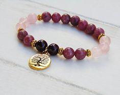 Garnet Mala Bracelet, Rose Quartz Mala Bracelet, Lepidolite Mala bracelet, Yoga Bracelet, Wrsit Mala, Prayer Beads, Pink Mala, Boho Jewelry