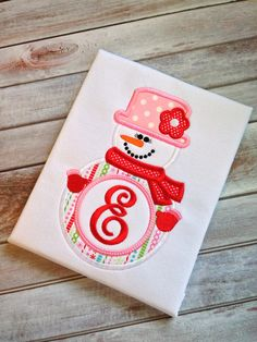 Snowgirl Machine Embroidery Applique Design by HappytownApplique, $4.00