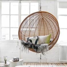 See fun hanging cocoon swing chairs in a variety of designs. A cocoon hanging chair is a hybrid of a hammock, swing & canopy chair with cushioned seats. Mismatched Dining Chairs, Black Dining Room Chairs, Upholstered Dining Chairs, Rattan Chairs, Hanging Chairs, Blue Chairs, Swing Chairs, Accent Chairs, Office Chairs