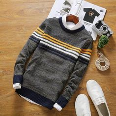 Gender: MenTechnics: Flat KnittedHooded: NoWool: Thin WoolCollar: O-NeckSleeve Length: FullDecoration: NoneSleeve Style: RegularPattern Type: StripedStyle: CasualMaterial: Cotton,Polyester sizeCross Shoulder(cm)Chest Width(cm)Body Length(c. Sweater Outfits, Sweater Jacket, Men Sweater, Mens Fashion Sweaters, Outfit Grid, Mens Clothing Styles, Ladies Dress Design, Long Sleeve Shirts, Men Casual