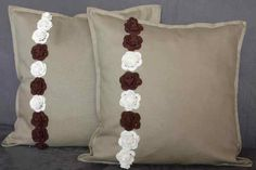 Beige pillows with crochet roses