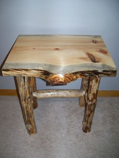 Log end table and coffee table.