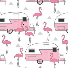 Buy pink trailers and flamingos on white custom fabric, wallpaper and home accessories by lilcubby on Spoonflower Flamingo Decor, Pink Flamingos, Flamingo Outfit, Flamingo Gifts, Pretty Birds, Pretty In Pink, Pink Trailer, Flamingo Pattern, Flamingo Fabric